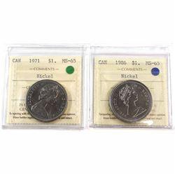 1971 & 1986 Canada Nickel $1 ICCS Certified MS-65. 2pcs.