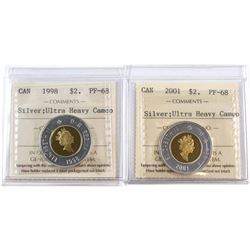 1998 & 2001 Canada Silver $2 ICCS Certified PF-68 Heavy Cameo. 2pcs.