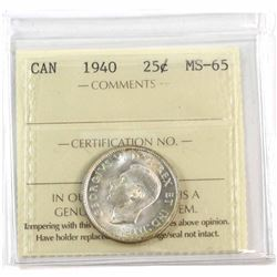 1940 Canada 25-cent ICCS Certified MS-65