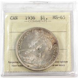 1936 Canada Silver $1 ICCS Certified MS-65