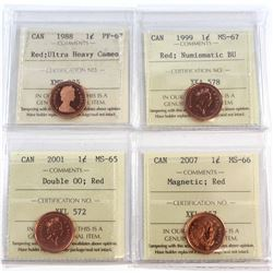 1988-2007 Canada 1-cent ICCS Certified Collection. You will receive a 1988 PF-67 Red UHC, 1999 MS-67