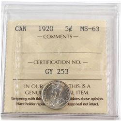 1920 Canada 5-cent ICCS Certified MS-63