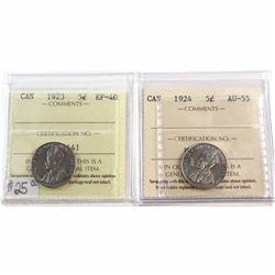 1923 Canada 5-cent ICCS EF-40 & 1924 Canada 5-cent ICCS AU-55. 2pcs.