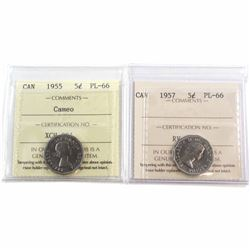 1955 Cameo & 1957 Canada 5-cent ICCS Certified PL-66. 2pcs.