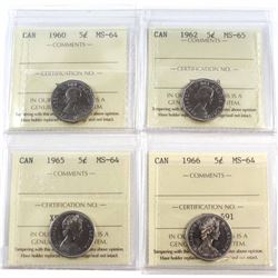 1960-1965 Canada 5-cent ICCS Certified Collection. You will receive a 1960 MS-64, 1962 MS-65, 1966 M