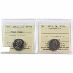1967 Heavy Cameo & 1973 Canada 5-cent ICCS Certified SP-66. 2pcs.