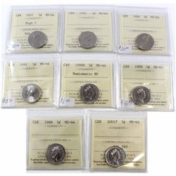 1977-2001P Canada 5-cent ICCS Certified MS-64 Collection. You will receive a 1977 High 7, 1981, 1984