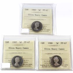 1983, 1987, 1988 Canada 5-cent ICCS Certified PF-67 Ultra Heavy Cameo. 3pcs.