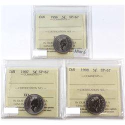 1996, 1997, 1998 Canada 5-cent ICCS Certified SP-67. 3pcs.