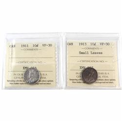 1911 & 1913 Small Leaves Canada 10-cent ICCS Certified VF-30. 2pcs.