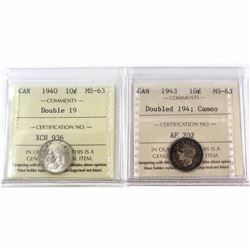 1940 Double '19' & 1943 Double '194' Cameo Canada 10-cent ICCS Certified MS-63. 2pcs.
