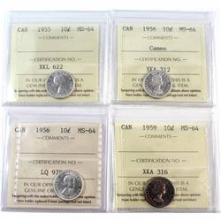1955, 1956, 1956 Cameo, 1959 Canada 10-cent ICCS Certified MS-64. 4pcs.