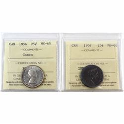 1956 Cameo & 1967 Canada 25-cent ICCS Certified MS-65. 2pcs.