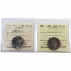 1953 Small Date & 1955 Canada 25-cent ICCS Certified MS-64. 2pcs.