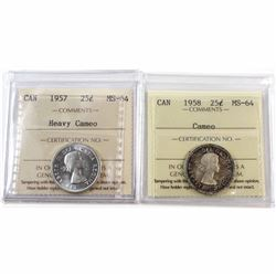 1957 Heavy Cameo & 1958 Cameo Canada 25-cent ICCS Certified MS-64. 2pcs.