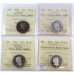 1967, 1968 Silver, 1968 Silver Heavy Cameo Canada 25-cent ICCS Certified MS-65. 3pcs.