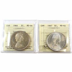 1966 Large Beads & 1967 Canada Silver $1 ICCS Certified MS-64. 2pcs.