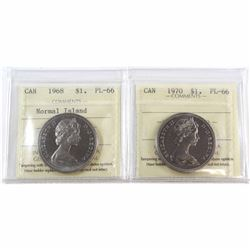 1968 Normal Island & 1970 Canada Nickel $1 ICCS Certified PL-66. 2pcs.