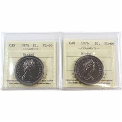 1975 & 1976 Canada Nickel $1 ICCS Certified PL-66. 2pcs.