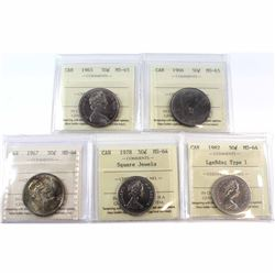 1965-1982 Canada 50-cent ICCS Certified Collection. You will receive a 1965 MS-65, 1966 MS-65, 1967