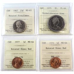 1967-1977 Canada ICCS Certified Collection with Minor Die Rotations. You will receive a 1967 25-cent