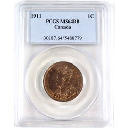 1911 Canada 1-cent PCGS Certified MS-64 Red/Brown