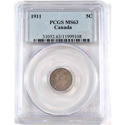 1911 Canada 5-cent PCGS Certified MS-63