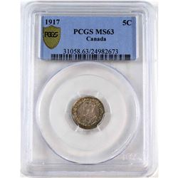 1917 Canada 5-cent PCGS Certified MS-63