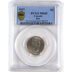 1937 Dot Canada 5-cent PCGS Certified MS-65