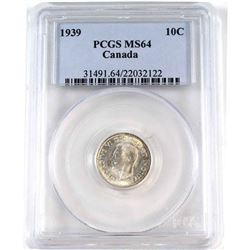 1939 Canada 10-cent PCGS Certified MS-64