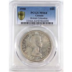1958 Canada Silver Dollar PCGS Certified MS-64