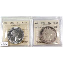 1954 Canada Silver $1 ICCS MS-63 Cameo & 1954 Silver $1 CH# 1954 Obv-002, Rev-002 ICCS Certified MS-
