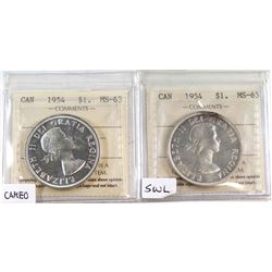 1954 Cameo & 1954 SWL Silver Dollar ICCS Certified MS-63. 2pcs