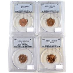 Lot of Canada 1-cent PCGS/ICCS Certified coins: 1989 MS-64 Red, 1992 MS-64 Red PCGS, 1996 MS-64 & 19