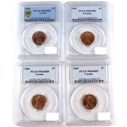 Lot of Canada 1-cent PCGS Certified coins: 1960 MS-65 RB, 1962 MS-64, 1966 MS-65 RB and 1969 MS-64 R