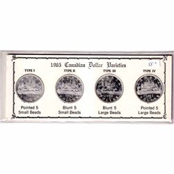 1965 Canadian Silver Dollar Varieties Collection in Presentation Board. Set includes the Type 1 - Po
