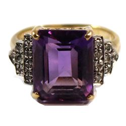 Ladies Amethyst and Diamond Ring fashioned in 10-karat Yellow Gold with Rhodium plated settings, 4.8