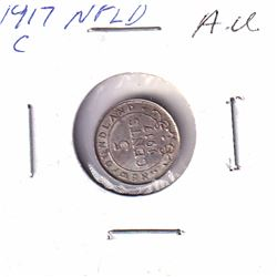 1917C Newfoundland 5-cent Almost-Uncirculated