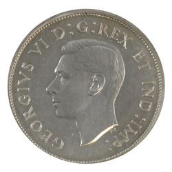 50-cent 1947 Maple Leaf; Curved 7 ICCS Certified SP-62. A flashy coin with hints of golden toning.