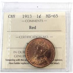 1913 Canada 1-cent ICCS Certified MS-65 Red.