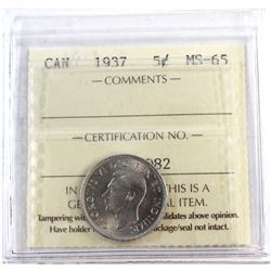 1937 Canada 5-cent ICCS Certified MS-65.