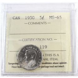 1950 Canada 5-cent ICCS Certified MS-65.