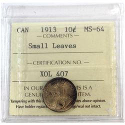1913 Canada Small Leaves 10-cent ICCS Certified MS-64.