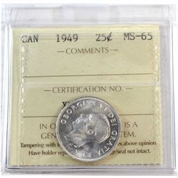 1949 Canada 25-cent ICCS Certified MS-65.