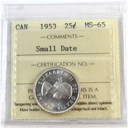 1953 Canada Small Date 25-cent ICCS Certified MS-65.