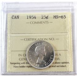 1954 Canada 25-cent ICCS Certified MS-65.