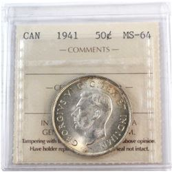 1941 Canada 50-cent ICCS Certified MS-64.