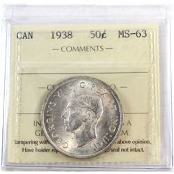 1938 Canada 50-cent ICCS Certified MS-63.