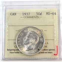 1937 Canada 50-cent ICCS Certified MS-64.