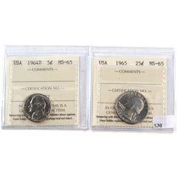 Pair of USA ICCS Certified MS-65 - 1964D Nickel & 1965 Quarter. 2pcs